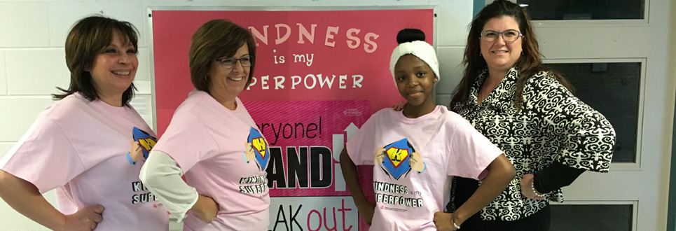 Staff and students wearing Kindness is my Superpower t-shirts.